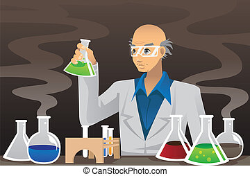 videnskabsmand, ind, laboratorium.
