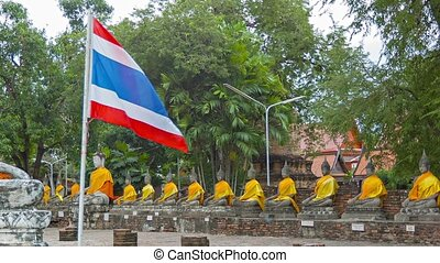 At Wat Yai Chai Mongkol. Thailand. Ayuthaya - Video 1080p -...