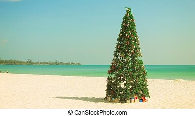 Christmas tree on a tropical beach