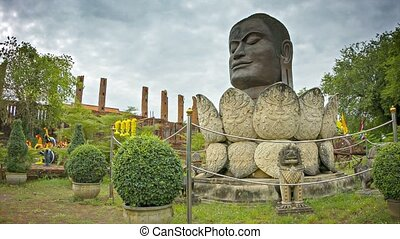 Video 1080p - Head of Buddha in a lotus flower. Monument in Ayuthaya. Thailand