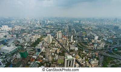 Panorama of a modern city with interchanges. Bangkok, Thailand