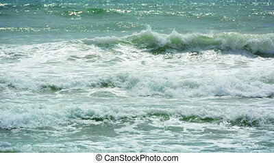 sea with a strong waves