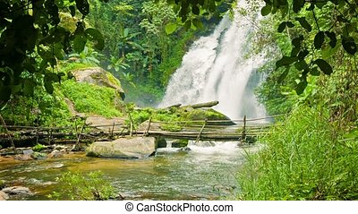 Small river with waterfall and bamboo bridge in the forest. Chiang Mai, Thailand