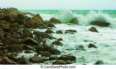 Surf and rocks. Thailand, Phuket - Video 1080p - Surf and...