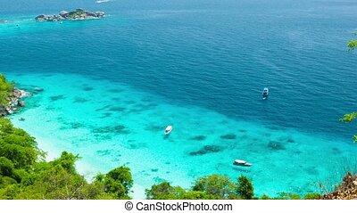 Top view of the ocean bay near the tropical island. Thailand, Similan