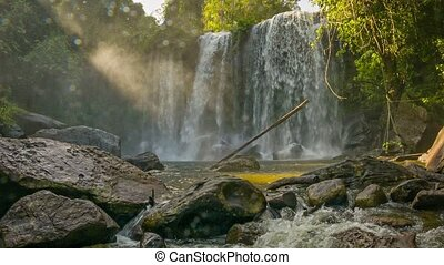 Waterfall view in Phnom Kulen National Park. Cambodia, Siem...