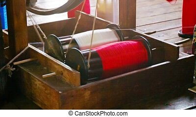 Working with the threads on the old traditional equipment -...