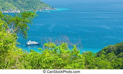 Yacht near the tropical island. View from the mountain. Thailand, Similan