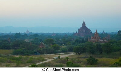 Bagan temples after sunset. View from above. - Video...