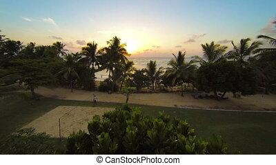 Evening at a tropical resort