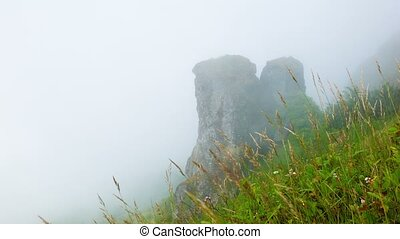 Hillside. Limestone rock in the clouds. Highlands Thailand