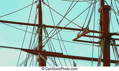 three-masted sailing ship - Video 1920x1080 - Masts and...