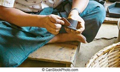 People working in the workshop. Burma - Video 1920x1080 -...