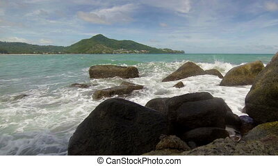 Sea bay with large stones