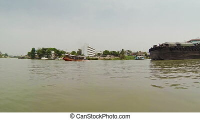 barges carrying goods on the river - Video 1920x1080p -...