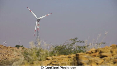 Wind Turbines at Indian desert - Video 1920x1080p - Wind...