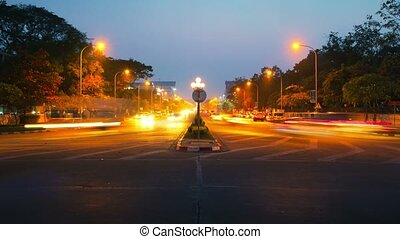 Night vehicular traffic on city streets
