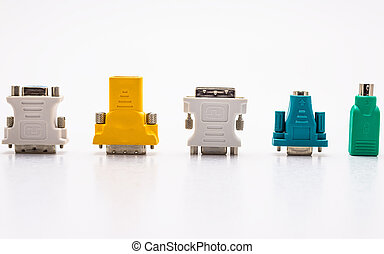 Video adapter for the computer and adapter for the mouse and keyboard. Isolated on a white background with a clipping path.