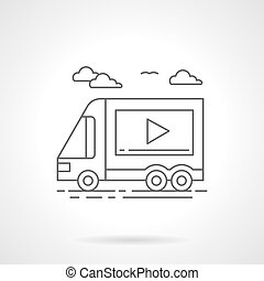 Video ads on transport flat line vector icon