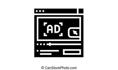 video advertisement animated glyph icon. video advertisement sign. isolated on white background