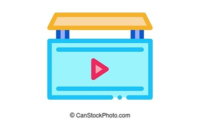 video advertisement Icon Animation. color video advertisement animated icon on white background