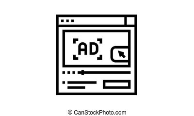 video advertisement animated black icon. video advertisement sign. isolated on white background