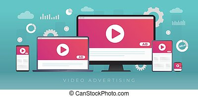 Video Advertising, digital online media marketing and business concept. Streaming live content and Online video broadcasting for target audience. Ad media on desktop, tablet pc and mobile phone screen