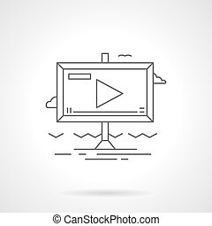 Video advertising flat line vector icon