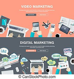 Video and digital marketing - Set of flat design...