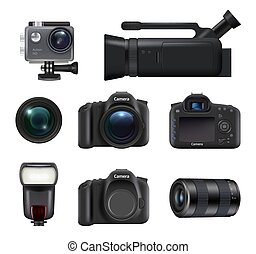 Video and photo cameras. Professional dslr technic for movie and photo production lens flashes vector realistic pictures. Illustration of lens and digicam, shutter and professional camera