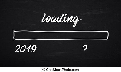 video animation - blackboard with the message 2019 - 2020 loading
