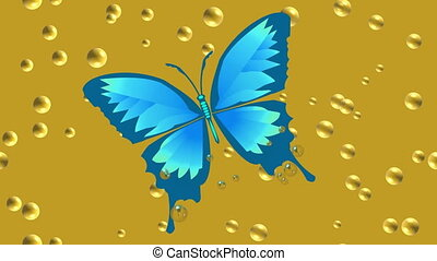Video animation blue tropical butterfly drowning in beer....