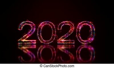 Video animation - colorful light shining particles - the new year 2020