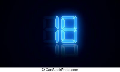 video animation - digital display in blue with a countdown...