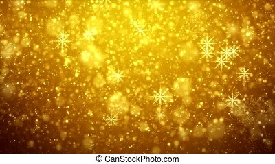 Video animation - falling snowflakes - golden light shining...