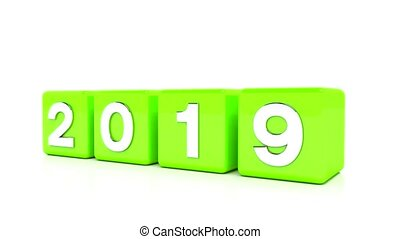 video animation - new year 2020 concept - cubes - green