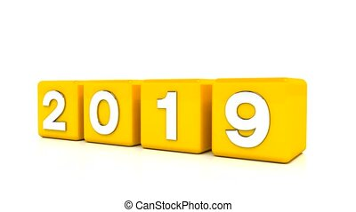 video animation - new year 2020 concept - cubes - yellow