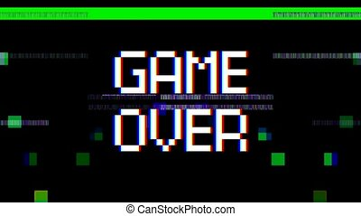 Video animation of a television screen with the message game...