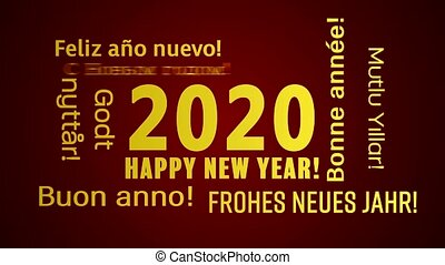 Video animation of a word cloud with the message happy new year in gold and in different languages