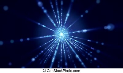Video animation of flash and light beams