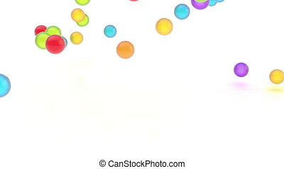 Video animation of glossy colorful falling orbs