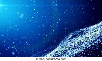 Video animation of glow particles over blue background -...