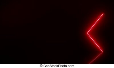 Video animation of glowing neon arrows in red