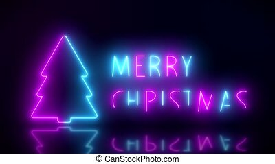 Video animation of glowing neon text with the message Merry...