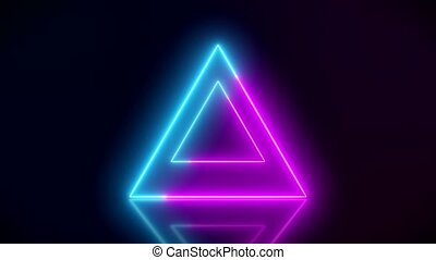 Video animation of glowing neon triangle in blue and magenta...