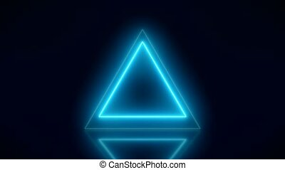 Video animation of glowing neon triangle in blue on...