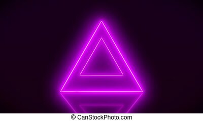 Video animation of glowing neon triangle in magenta on...