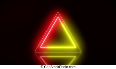 Video animation of glowing neon triangle in red and yellow