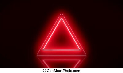 Video animation of glowing neon triangle in red