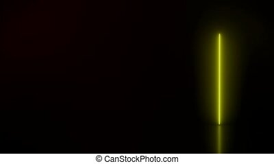 Video animation of glowing vertical neon lines in red and yellow